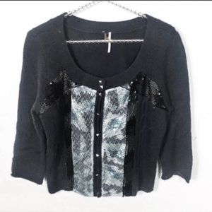 Free People l Sequin Cropped Cardigan